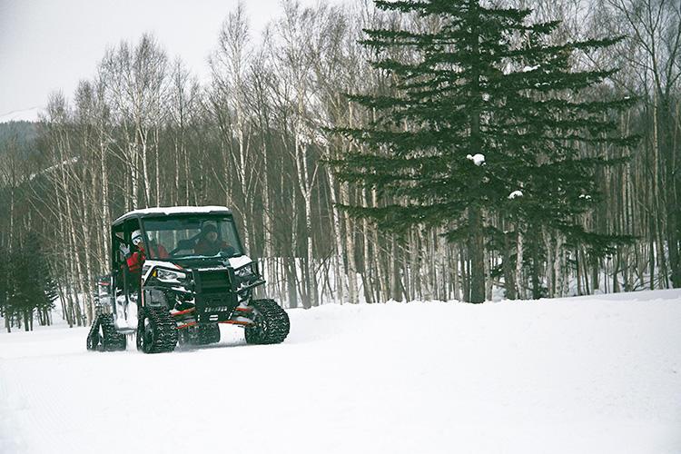 スキーやスノーボードではなかなかたどり着けない針葉樹林の中にも入っていける。