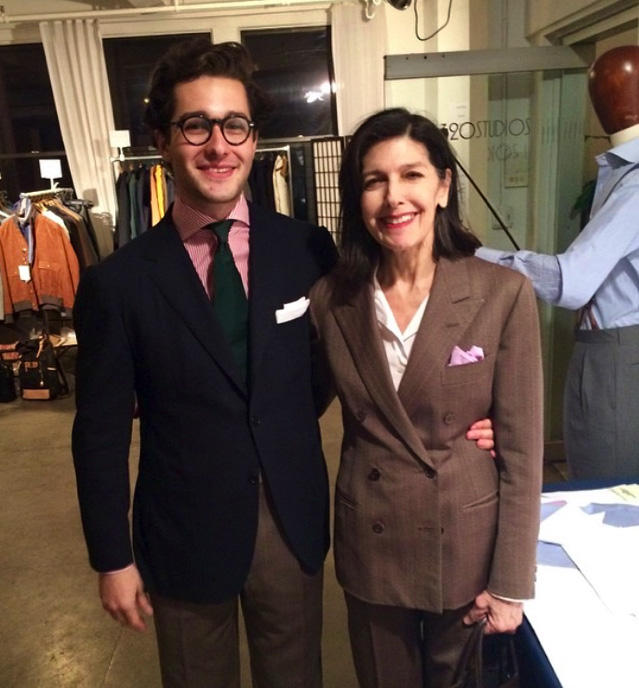 My mother and I in 2016. She is wearing her favorite suit made in Zegna cloth from the 1960's.2016年、母と私。母は1960年代のゼニアの生地で作ったお気に入りのスーツを着用。