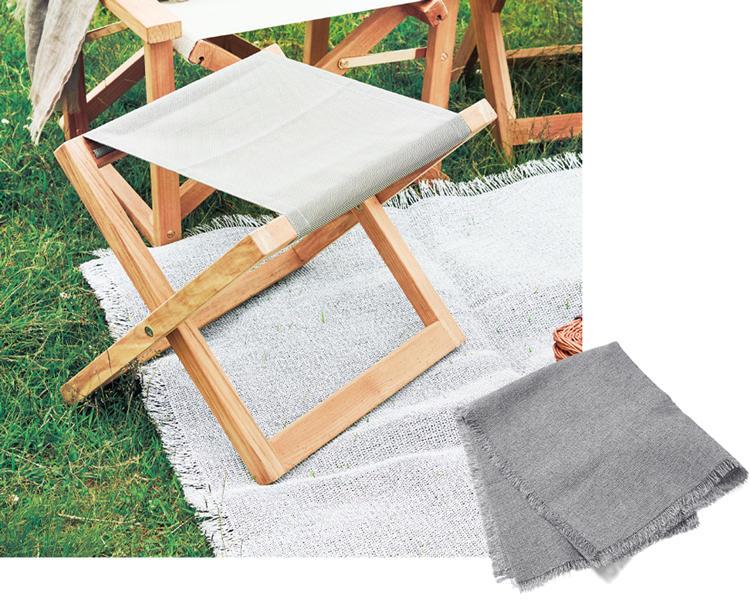 <span style='font-size:1.1em;'><strong>04. Chilewich / チルウィッチのラグ</strong></span><br />ラグを敷くことで、広い屋外でも自分たちだけの居場所として寛ぐことができます。からみ織りという手法で織り上げたラグは、水を吸収せず、耐久性が高いため、屋外での使用も可能。147×213cm。10万5000円/チルウィッチ(リビング・モティーフ)