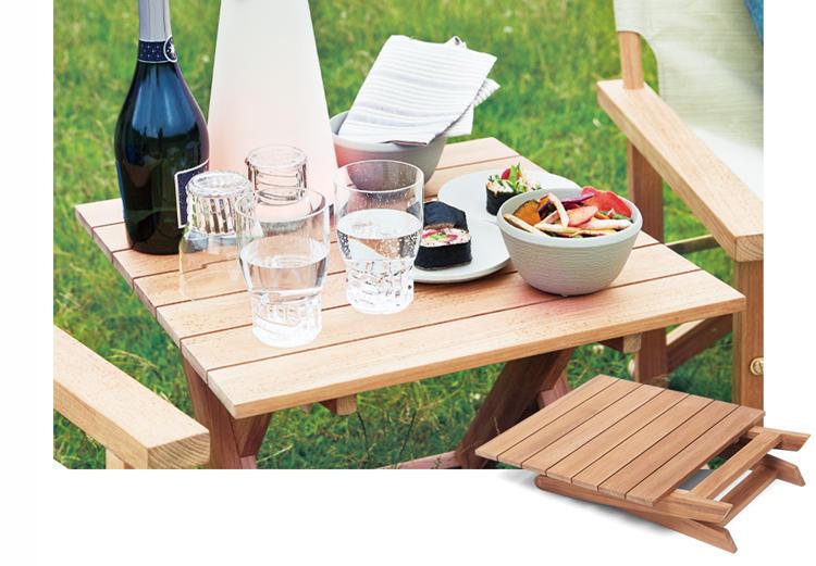 <span style='font-size:1.1em;'><strong>08. Living Motif / リビング・モティーフのチークサイドテーブル</strong></span><br />1のチェアと同様、オリジナルのチーク材アウトドアテーブル。ゆったりと座りながら食事をする'グランピクニック'には、小さくて低いサイドテーブルがぴったりです。幅52×奥行き52×高さ45cm。2万7000円/リビング・モティーフ(リビング・モティーフ)