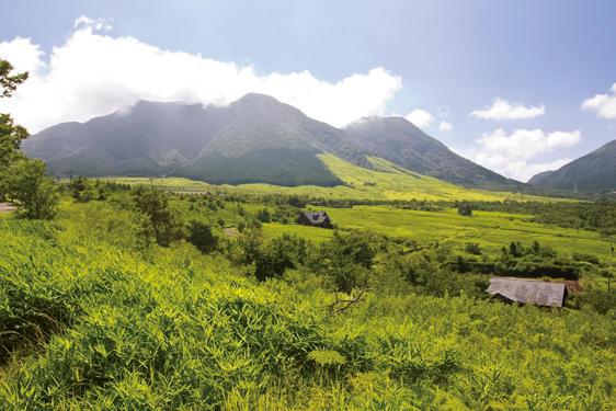 由布市と別府市の境界付近にある塚原高原からの由布岳の眺めも絶景だ。