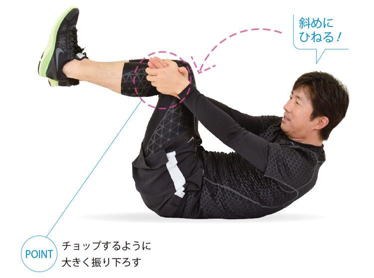 <b>2. ひねりながら上体を起こす</b><br>腕を伸ばしたまま脇に向かって下ろし、それに合わせて上体もひねりながら起こしていく。これを左右交互に行う。