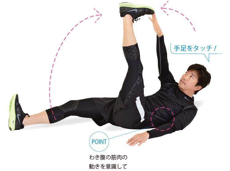 <b>2. 起き上がりながら逆の足にタッチする</b><br>対角線上の手足を、身体の前でクロスさせ、上体をひねりながら起こしてタッチする。もう片方の手足は床につけておくこと。