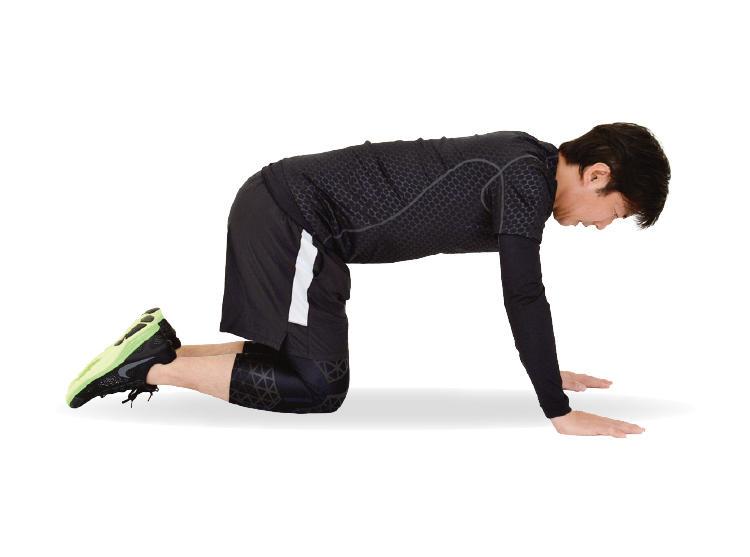 <b>1. 両手と両ひざを床につく</b><br>床に両手、両ひざをついた姿勢になる。重心を左右に偏らせず、リラックスした状態になる。