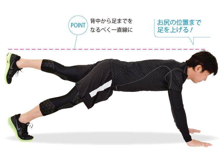 <b>3. 片足を上げる</b><br>「2」の状態から、片足ずつお尻の高さまで上げる。背中から足までが一直線になるようにする。そのまま15秒キープし、足を交代する。