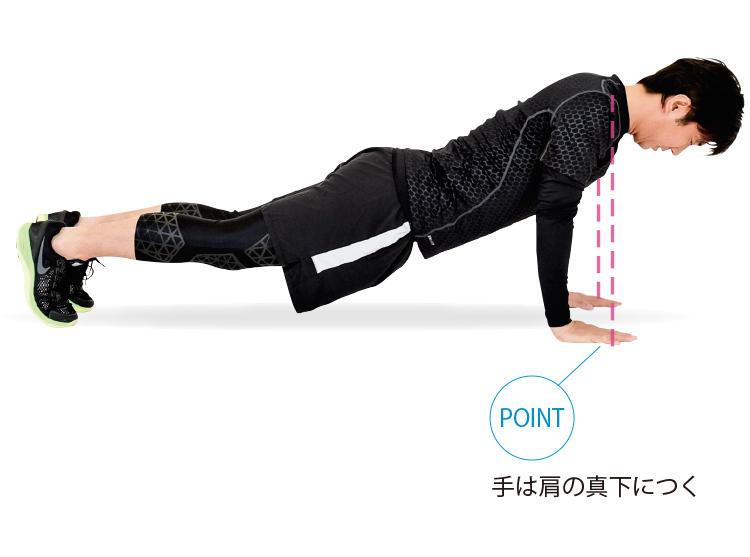 <b>1. 腕立ての姿勢になる</b><br>うつ伏せの姿勢から、両腕で上体を持ち上げる。背中が反ったり、お尻が突き出たりしないように注意。