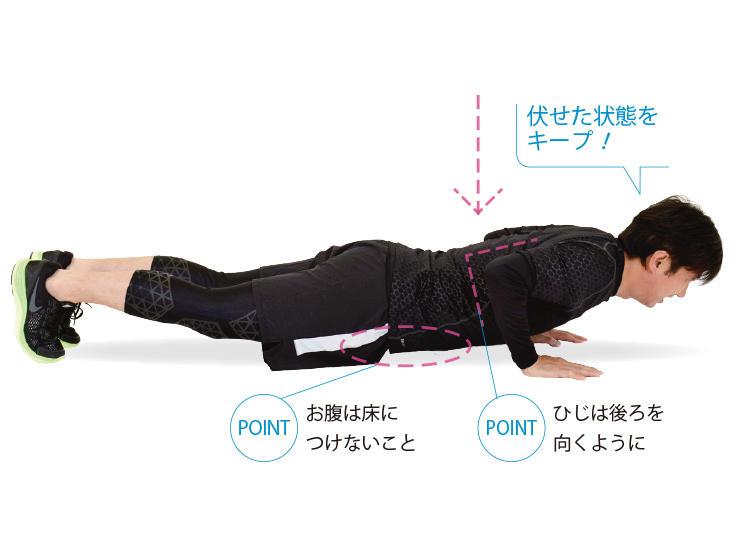 <b>2. 上体を下げてそのままキープ</b><br>姿勢をまっすぐに保ちながら、ゆっくりと腕を曲げ、上体を下げていく。床に触れる寸前で止め、そのままキープ。