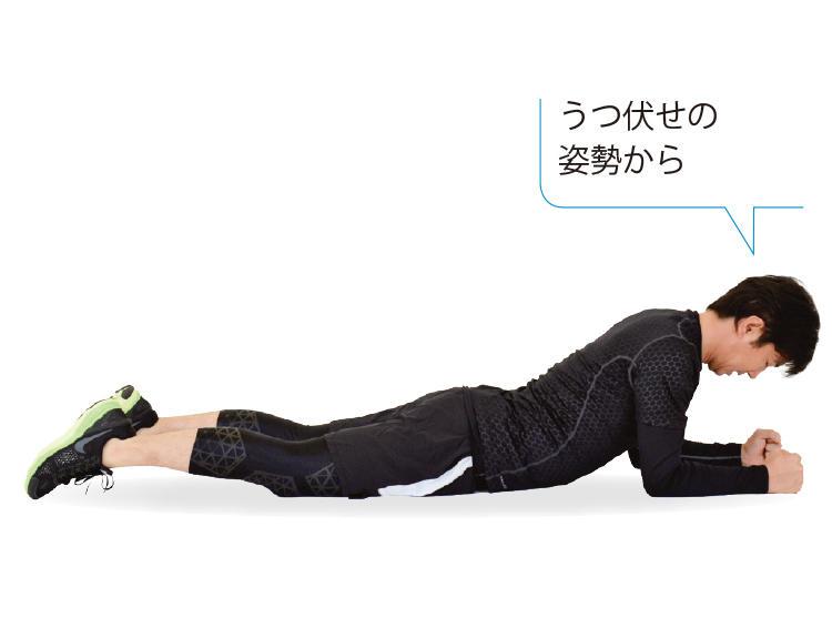 <b>1. 両ひじをついてうつ伏せになる</b><br>床に両ひじをついて、うつ伏せの体勢をとる。ひじは肩の真下に置き、足は自然に肩幅程度に開いておく。