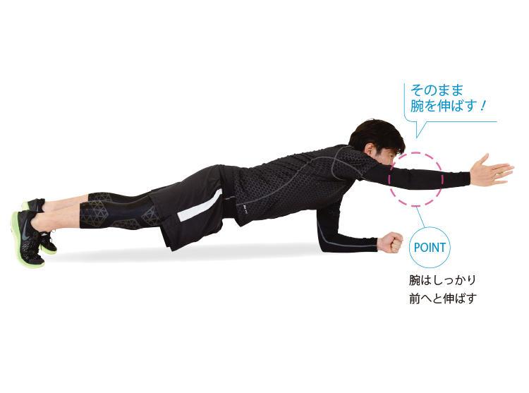 <b>3. 片腕を前に伸ばしてキープ</b><br>「2」の姿勢を保ったまま、腕を前にまっすぐ伸ばしてキープする。左右にぐらつかないよう、しっかり支える。
