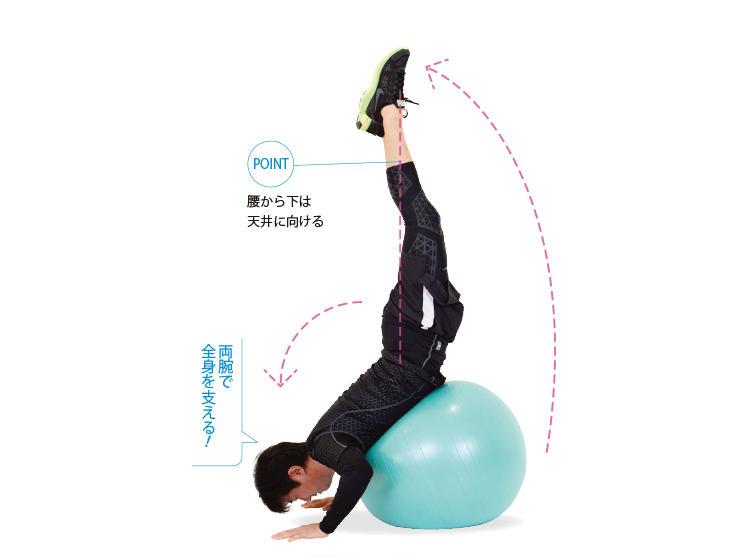 <b>4. 倒立の姿勢になる</b><br>両手で体重を支えながら、体幹筋を使って下半身を起こし、倒立の姿勢をとる。そのまま5秒キープ。ボールから落ちないよう、気をつけて!