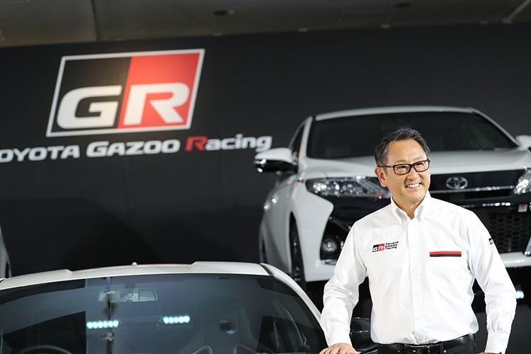 「GR」発表会にサプライズで登場した豊田章男社長。