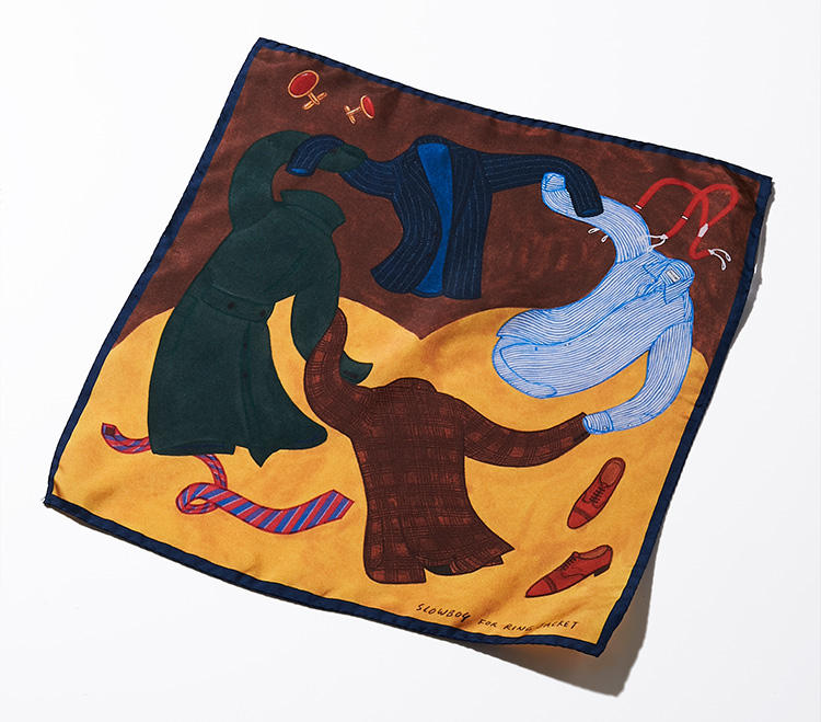 命が宿ったジャケットたちは、手を取り合って誕生を祝って踊り出す。実は、このイラストは、フランスの画家アンリ・マティスの有名な絵「DANCE」をイメージソースにしたのだとか!