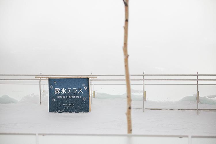 山頂駅舎を降りると現れる「霧氷テラス」。