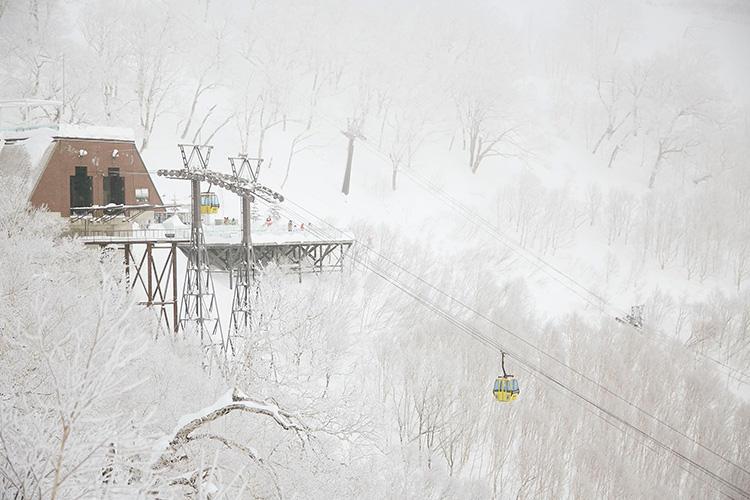 早朝は樹木に連なる「霧氷」が圧巻の美しさ。これを眺めにゴンドラで山頂駅舎へ。