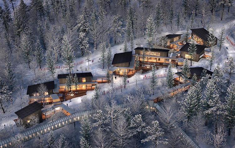 ホタルストリートの全景。スキーをしない人たちも、ホテルから直結通路を通って、このストリートに来ることができる。