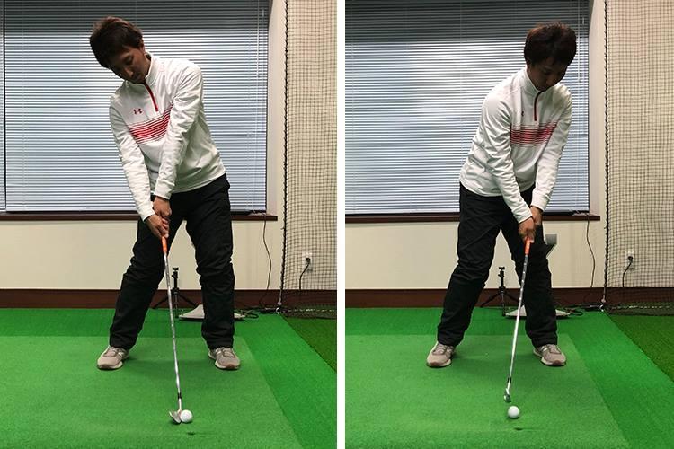 写真・左/前傾姿勢が崩れると、ボールをすくい上げるようなインパクトになる。写真・右/ダウンブローに打とうとしてヘッドを上から打ち込むと、極端なアウトサイド・インのスイング軌道になってしまう