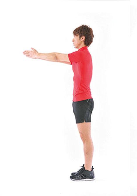 <b>Step 1</b><hr>真っ直ぐに立ち、胸の前で手を合わせる