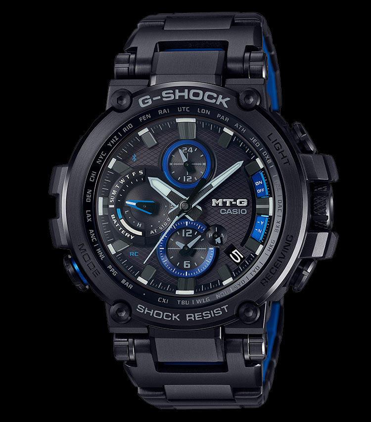 <strong>MTG-B1000BD-1AJF</strong><br>耐摩耗性に優れるIP処理を施し、ケースとバンドをオールブラックにしたモデル。精悍な顔立ちだが、メタリックブルーの差し色が効き、紺スーツや紺ジャケットとも好相性を見せる。ケースサイズ:55.8×51.7mm ケース素材:樹脂/ステレンレススチール ベルト素材:ステンレススチール ムーブメント:クォーツ 価格:11万5000円