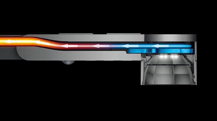 LEDライトは加熱によって劣化や変色することがあるが、「Dyson Lightcycle™タスクライト」は「ヒートパイプテクノロジー」と呼ばれる冷却技術を搭載して長寿命化を実現。内部に真空の銅管を備え、管内で水を気化・液化させることでLEDから熱を逃がしてくれる。これにより、光の質が最大60年間も保たれるそうだ。