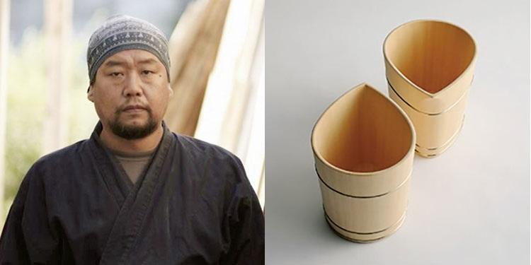 木工芸「中川木工芸比良工房」<b> 中川周士氏</b></br>大学卒業と同時に中川木工芸で重要無形文化財保持者、父・清司に師事。2003年には自身で工房を開く。国内のみならず木桶のシャンパンクーラーが著名ブランドの公式になるなど、海外での評価も高い。シャンパンクーラーshizuku7万8000円(中川木工芸比良工房)