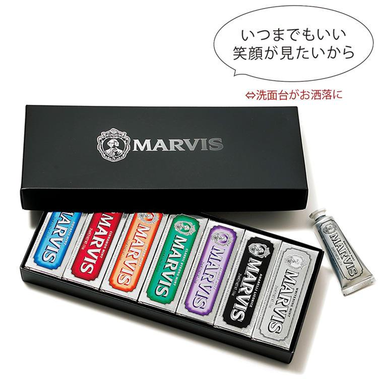 <for SHARE> 〜1万円未満<br><b>マービスの歯磨き粉セット「ブラック・ボックス」 <br>6800円</b><br>いつまでも若々しく、美しい笑顔は、フィレンツェ発の歯磨き粉で。各フレーバーともに、ベースとなるミントの香りが口の中をリフレッシュ。ホワイトニング効果のある成分が美しい歯をキープしてくれる。洗面台に置くだけでも、さながらインテリアのよう。(アッパーハウス)