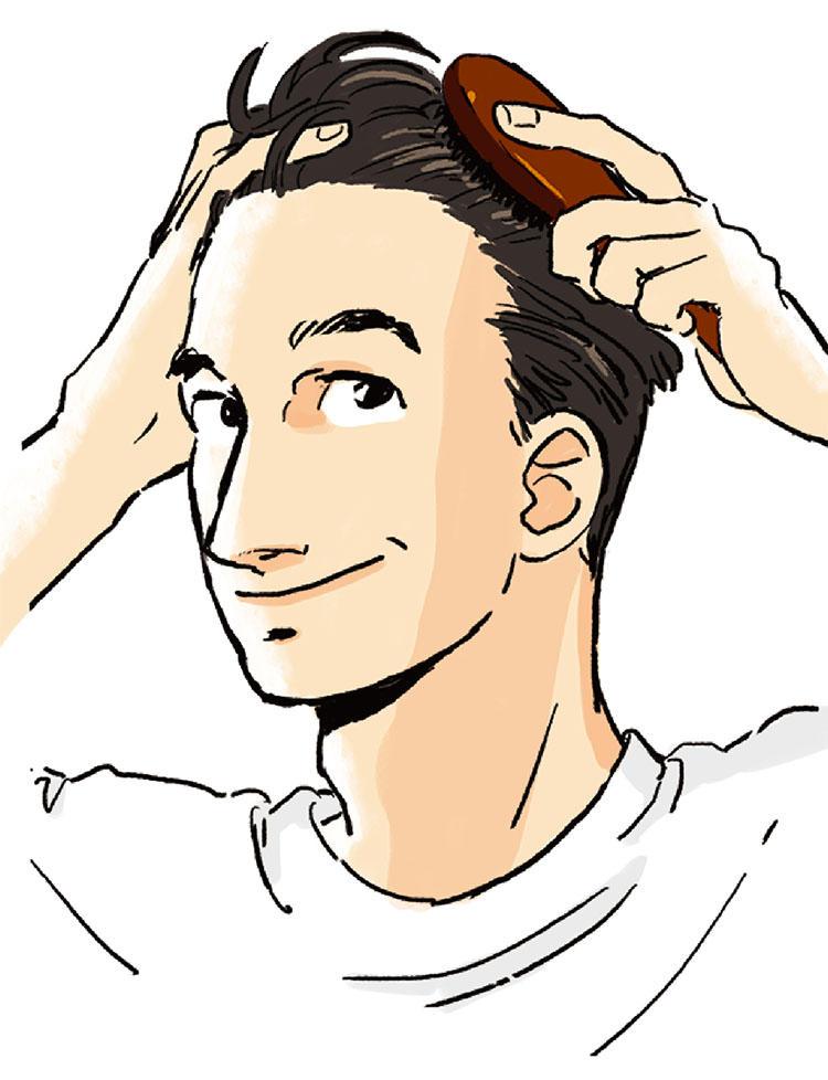 1:シャンプー前に、皮脂や汚れを落としやすくするブラッシングのひと手間を! 髪を濡らす前にブラシや手ぐしで髪をとかし、髪や頭皮についた汚れを浮き上がらせ、落としやすくしておく。