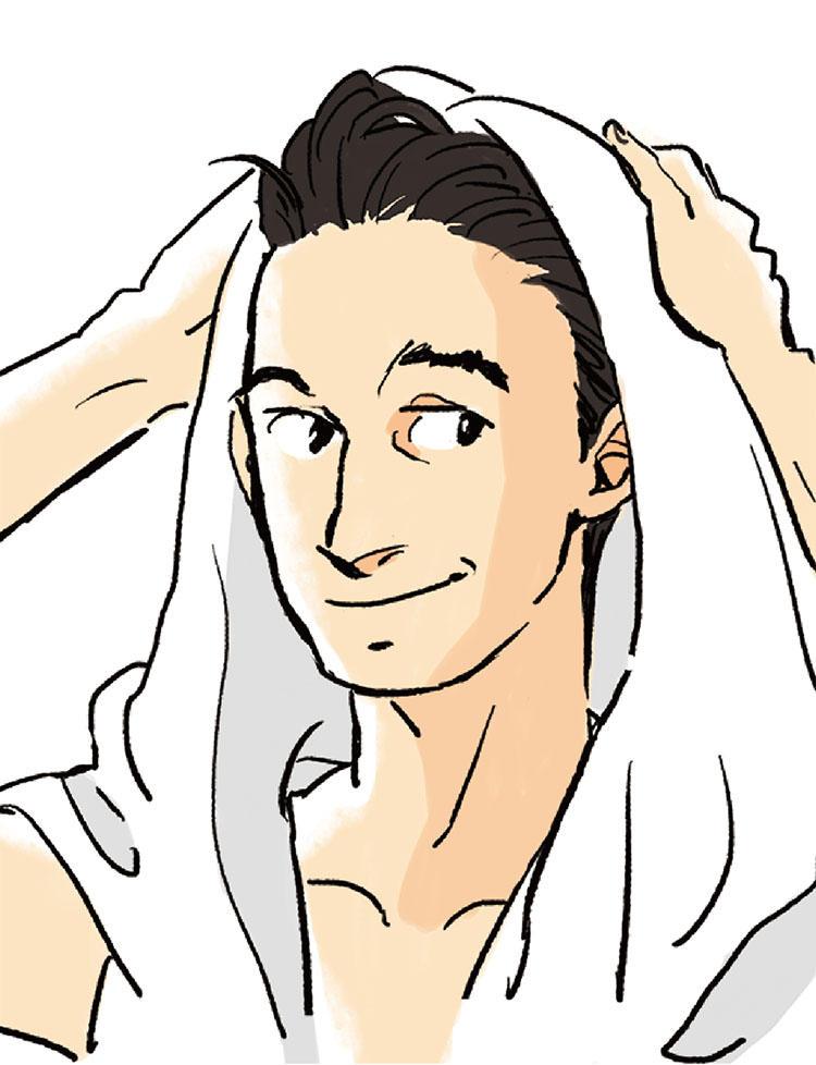 5:タオルドライは髪ではなくむしろ、地肌を拭く気持ちで行おう。タオルを頭にのせ、タオルの上から頭に指を立てて地肌をやさしく拭いていけば、頭皮と髪の水分が自然と拭える。