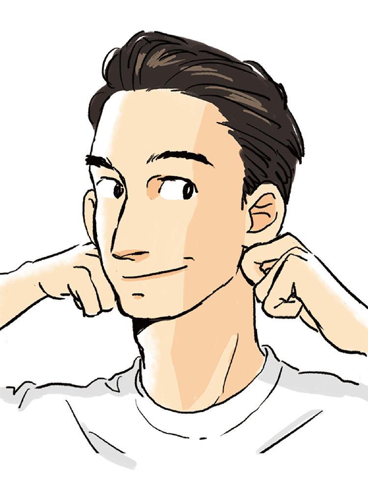 <b>1:耳下をほぐして小顔スイッチオン</b><br>リンパ節が集中し、老廃物を流して顔のたるみやむくみを解消する鍵となるのがココ。手を軽く握り中指の第二関節で、耳下のエラの裏のへこんだ部分をグリグリと。最低1分ほぐす。