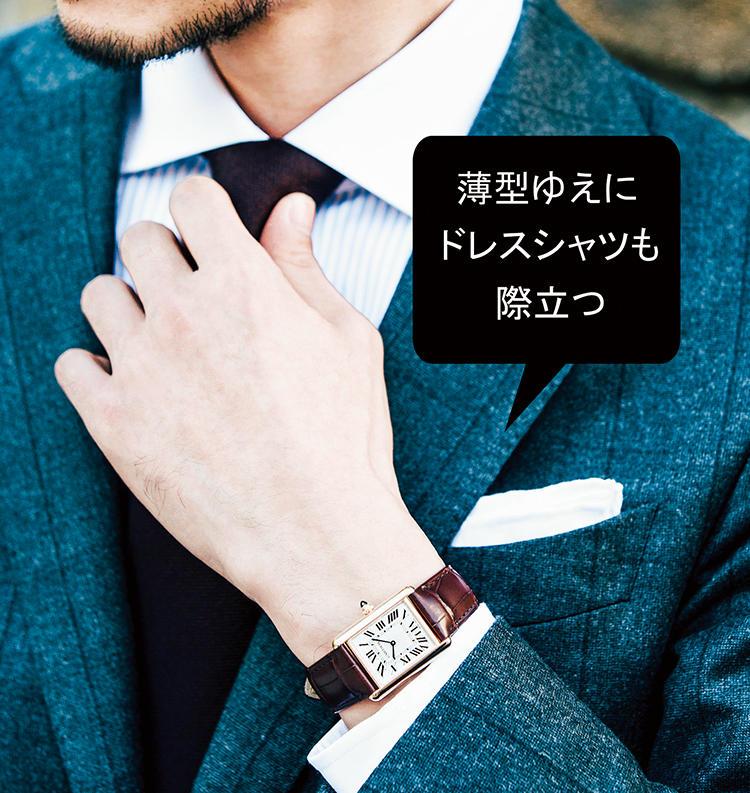 小顔薄型の角シック時計