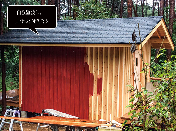 積雪状況も考えて屋根の角度を変えるなど、環境に合わせてアレンジ。外壁は週末ごとに都内から足を延ばし、自分でペイントした。