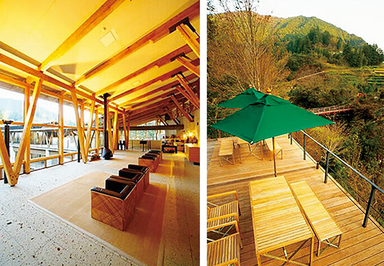右:渓流、棚田、山の眺望や、さまざまな鳥のさえずりが楽しめる。