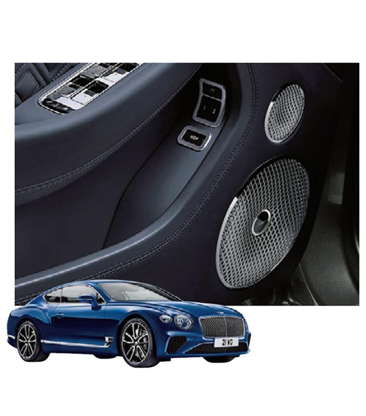■ベントレー × ネイム オーディオ<br><br> <b>英国車と英国オーディオの同国同盟</b><br>最新のコンチネンタルGTでは、同じ英国のハイエンドメーカーからアクティブバス搭載のネイム フォー ベントレーが選択可能。2200Wの圧倒的ハイパワーの音響体験が待っている。車両価格2530万円〜、オプション価格115万2400円(ベントレー コール)