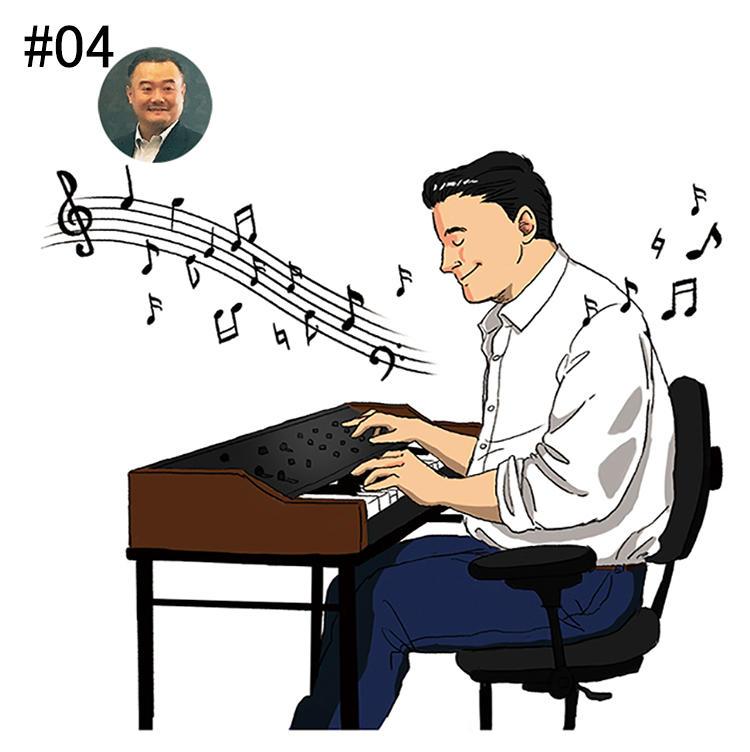 <b>「ビンテージシンセサイザーの音色で青春時代の情熱を取り戻します」</b><br>アスノシステム WEBビジネス部 担当取締役<br><b>須貝嘉典さん</b><br><br>須貝さんにとっての最高の音は、若くからコレクションを続け、デジタル業界に携わるきっかけにもなったシンセサイザーの音。「高校生でYMOと出会って以来、いまだに夢中。特にビンテージのものは、最新デジタル機器にはない温もりがあるんです」。自宅には高額なシンセサイザーが数セットも。それらを奏でると、昔に集めてきたときの情熱を思い出すそう。