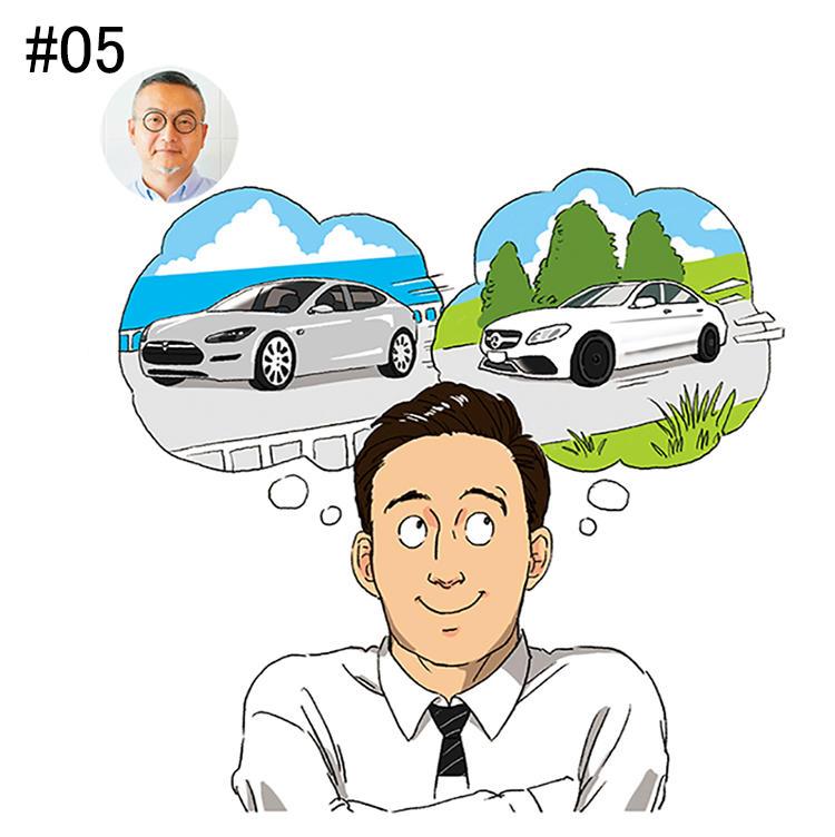 <b>「2台の愛車のエンジン音でクリエイティブな感性を刺激」</b><br>ラナデザインアソシエイツ 代表取締役<br><b>木下謙一さん</b><br><br>通勤で聴くエンジン音こそが、木下さんにとっての最高の音。愛車はメルセデスベンツAMG C 63とテスラ モデルS。6.2?エンジンの重低音と静かなモーター音を、気分で運転し分け聴いている。「盛り上げたい時には大排気量が迫力ある音を生み出すAMGを、リラックスしたい時には風切り音も楽しめるテスラを選びます」。EVカー普及による、新たな音の楽しみ方だ。
