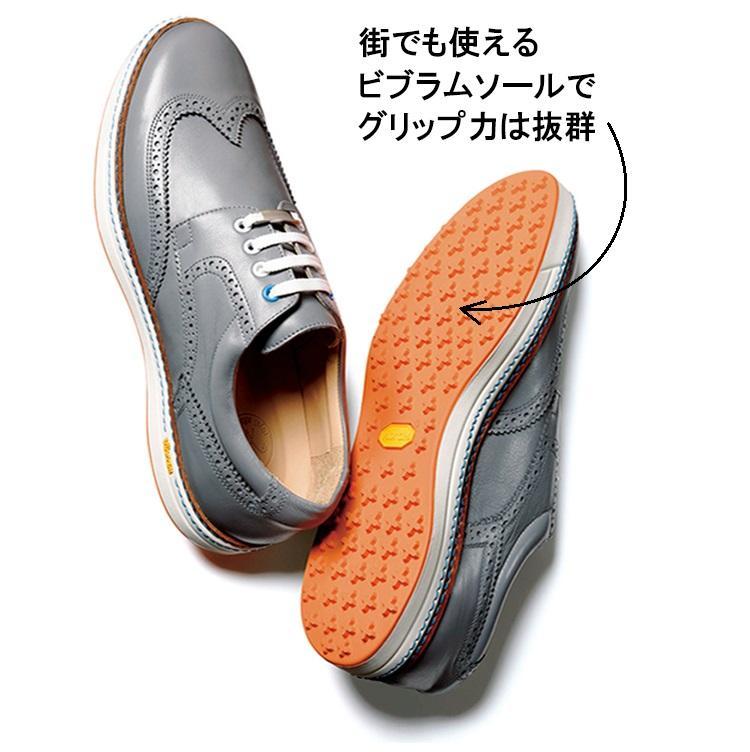 <b>ROYAL ALBARTROSS</b><br><br>最近、街でも履けるゴルフシューズが増えている。なかでも英国ブランドのこちらは、行き帰りのジャケットにも似合う本格顔の靴。イタリア製アッパーと、ビブラム社のソフトスパイクソールをドッキング。5万8000円/ロイヤルアルバトロス(ニーディープ)