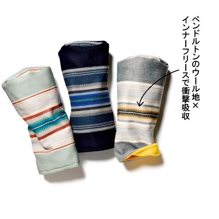 <b>SEAMUS</b><br><br>表地にペンドルトンの生地を使った、アメカジ世代に刺さるアメリカのヘッドカバー。柔らかいフリース裏地を使った内側は砂時計状の作りで、そのくびれ部分はゴム入りのため、抜けにくく取り出しやすくなっている。各1万1000円/シェイマス(ニーディープ)