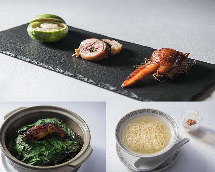 地鶏「冠地どり」を使ったメインディッシュ。胸肉、手羽先、腿肉、そしてガラが、川田シェフの手で魅力的に表現されていた。ちなみに麺に添えられるXO醤にも国東の食材がふんだんに使われている。