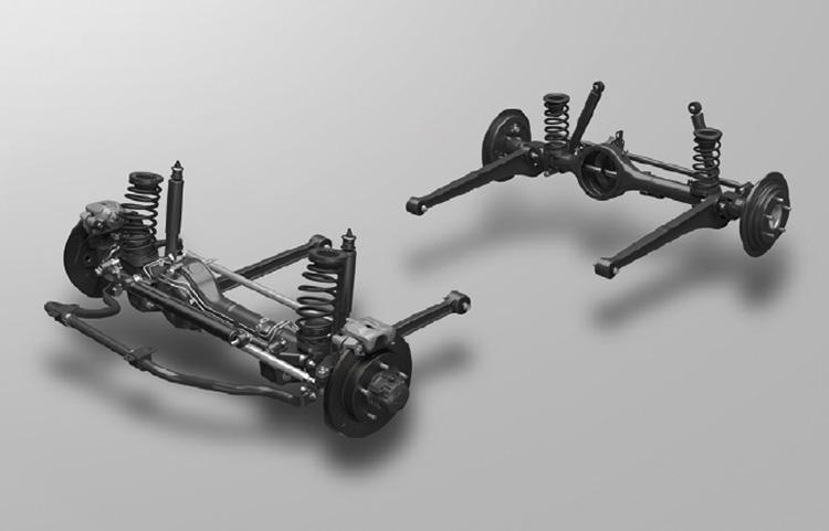 サスペンションは3リンクリジッドアクスル式を採用。もっと快適なサスペンション形式は存在するが、ジムニー本来の走破性を追求するうえで選ばれたものだ。