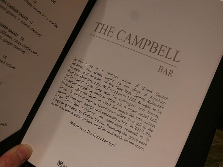 メニューには、キャンベルバーの歴史解説も。