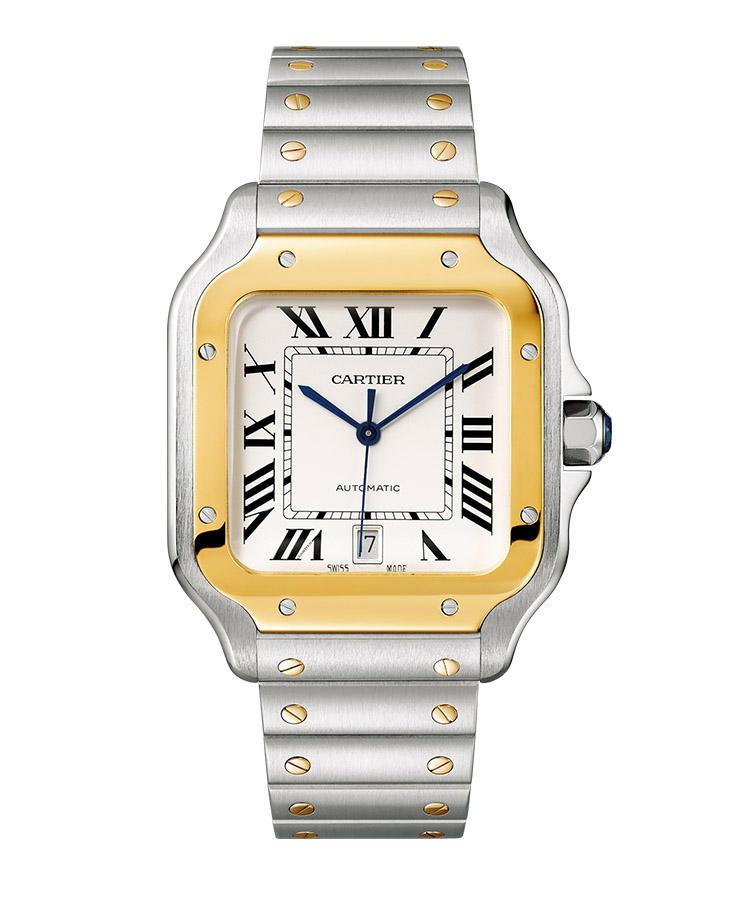 <b>CARTIER</b><br/>カルティエ<br/><br/><b>サントス ドゥ カルティエ</b><hr><b>お直し 不要でジャストフィット</b><br/>男性用本格的腕時計の祖となる名作。その最新作は、ヘ?セ?ルの上下を伸は?し、フ?レスとの一体感を強調した。さらにフ?レスは工具なして?コマつ?めか?可能。ストラッフ?も付属し、やはり工具なして?着け替えか?出来る。自動巻き。縦47.5×横39.8mm。SS+18KYGケース&フ?レスレット。112万円(カルティエカスタマーサーヒ?スセンター) Photo: Vincent Wulveryck (C) Cartier