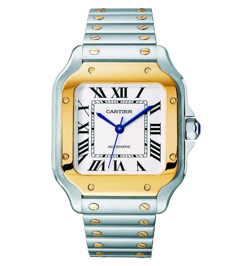■<b>CARTIER</b><br>カルティエ サントス ドゥ カルティエ<br><br><b>新生サントスはブレスに技あり</b><br>1904年に誕生した初の本格的腕時計を現代に再構築。ベゼル形状を改め、ブレスとの視覚的一体感を高めた。そのブレスは、工具なしで付け替えが可能だ。自動巻き。41.9×35.1mm。SS+18KYGケース&ブレスレット(カーフストラップ付属)。予価98万円。4月発売予定(カルティエ/カルティエ カスタマー サービスセンター)photo/Cartier