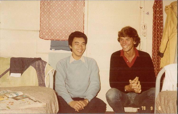 1978年、フランスのコートダジュールで撮影。右はスキャバルの重役の子息で、石田原さんは彼とともにフランス語の学校に通った。