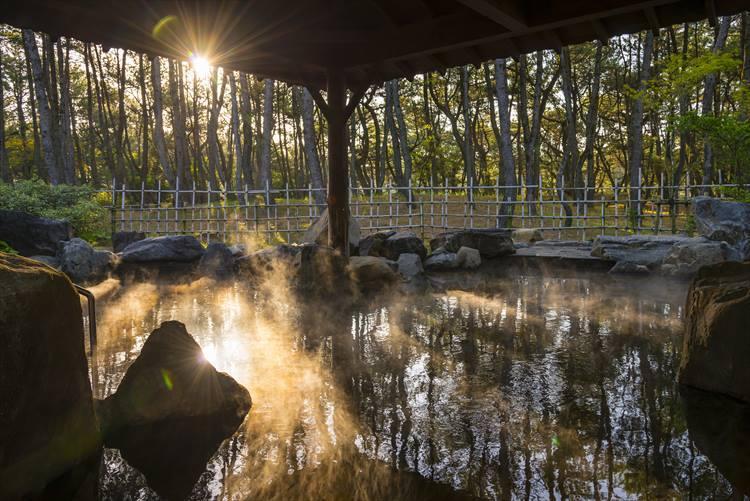 こちらは「月読」(つくよみ)の露天風呂。周りの松林からはフィトンチッドと呼ばれる森林浴の物質が多く放出されていて、癒しの効果が絶大なんだそうです。ぜひ朝風呂も楽しんでください!