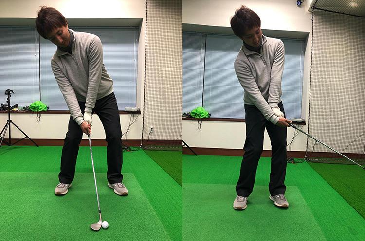 NGのアドレスと打ち方。球を上げようとしてカラダが傾きすぎていたり(写真/左)、ロフトを増やすために左手首を甲側に折ってしまうと(写真/右)、ヘッドの最下点やフェースの向きがバラついてミスが出やすくなる