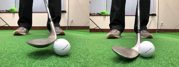 自分で球を上げようとすると、ハンドレイトのインパクトになってボールのアタマを打つトップのミスが出がち(写真/左)。正しい構え方をしておけば、高確率でロフトどおりにクリーンにヒットできる(写真/右)