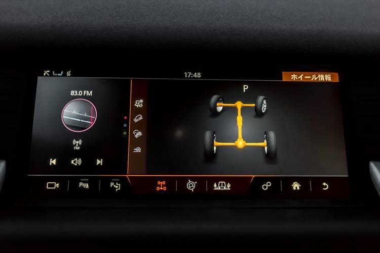 オフロード走行時に必要な情報はモニターに表示される。車両の傾斜やタイヤ角度など、細かく表示され、もちろん運転時には様々なサポートが受けられるようになっている。このあたりの制御能力は間違いなく世界屈指の実力である。