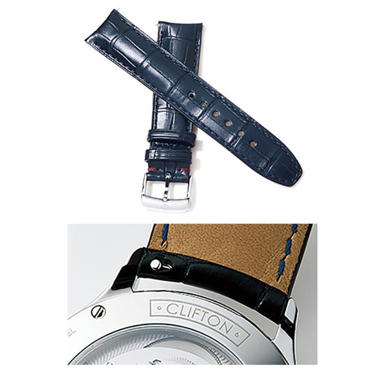 <b>BAUME & MERCIER(ボーム&メルシエ)<br />クリフトン ボーマティック COSC</b><br />バネ棒にある突起を横に動かせば外れる仕組み。別売りのストラップ(3万1000円)やブレスは専用工具を使って付け換えが可能。