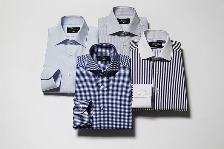 <strong>「合わせるシャツの襟型はどうしよう?」</strong><br />選べるシャツの襟型は全8種類。レギュラー、ワイド、セミワイドなどビジネス向きのものから、タブカラーやフォーマル向きのウィングカラーなども。ほかにカフスやフロント・バックスタイルも選ぶ事ができる。