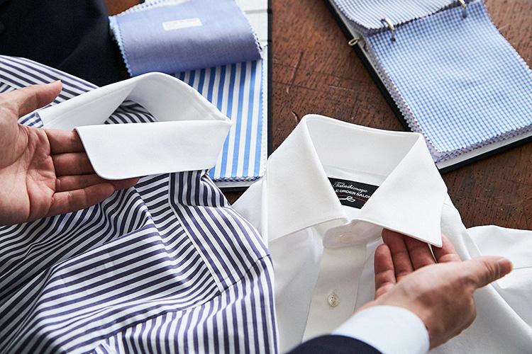 <strong>「襟型は、あえて遊んでみようかな」</strong><br />シャツの襟型、デザインを選んでいく。ベーシックにいくならセミワイドカラーだが、ここはあえてラウンドカラーのクレリックをチョイス。