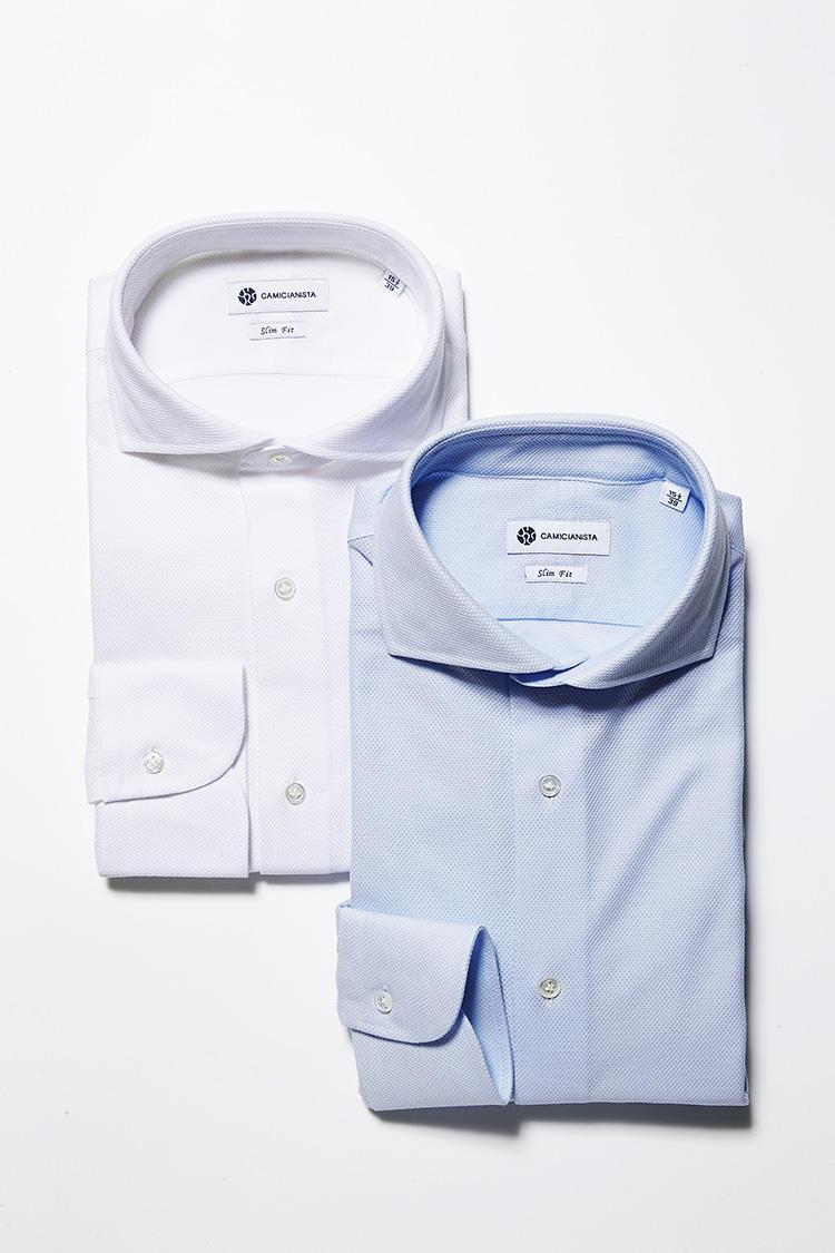<strong>【衿型とカラーバリエーション】</strong><br />もうひとつの衿型は、クールビズの定番、堀李ゾンタル。本来はタイドアップするフォーマル用のシャツですが、衿羽根の開き角度が大きいのでタイドアップするより、ノータイで着るのがおすすめです。